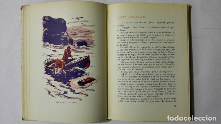 Libros antiguos: CUENTOS EN EL MAR DE LUIS MARQUES CANOS, COLECCION UN NIÑO ESCRIBE PARA LOS NIÑOS, EDITORIAL ARALUCE - Foto 6 - 168590748