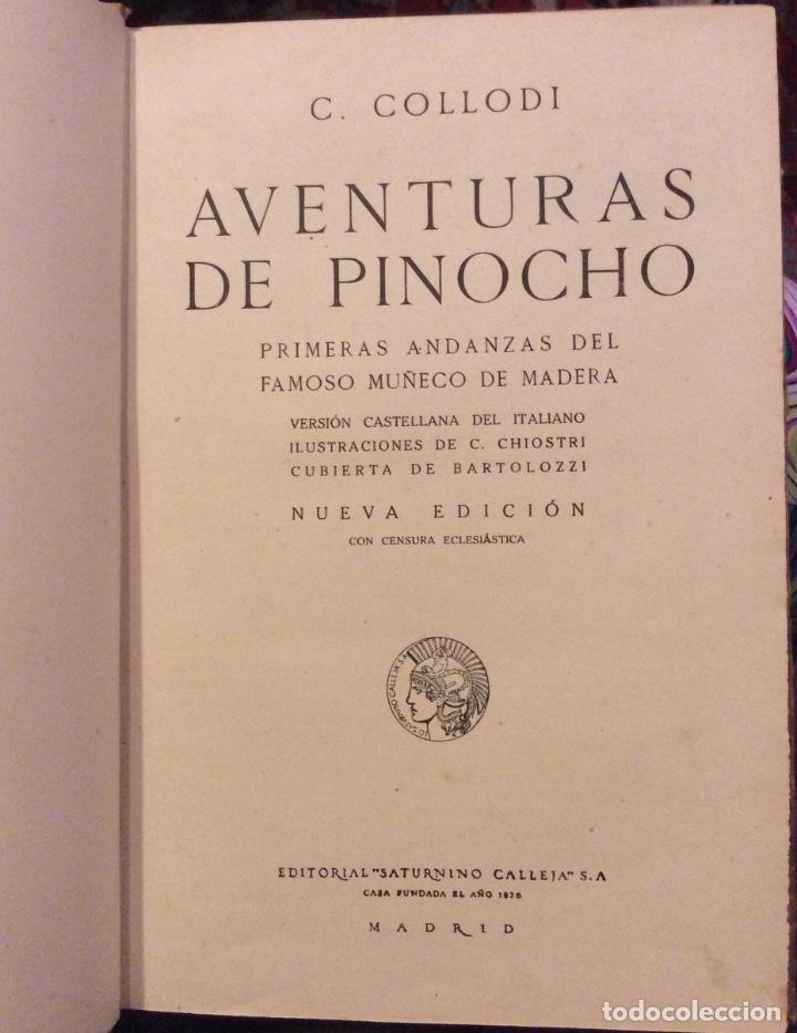 Libros antiguos: Aventuras de Pinocho - C. collado - casa editorial Calleja - Madrid- Biblioteca Enciclopédica - Foto 3 - 181803732