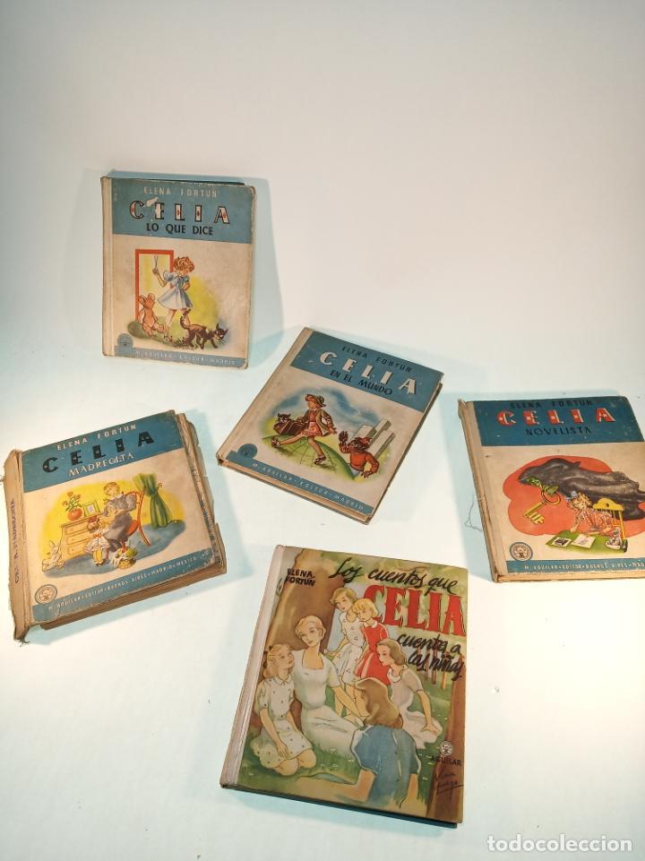 LOTE DE 5 CUENTOS DE LOS CUENTOS DE CELIA. ELENA FORTÚN. AGUILAR. MADRID. 1955. (Libros Antiguos, Raros y Curiosos - Literatura Infantil y Juvenil - Cuentos)