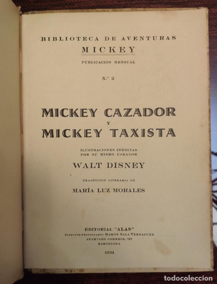 Libros antiguos: BIBLIOTECA DE AVENTURAS MICKEY N° 2: MICKEY CAZADOR Y MICKEY TAXISTA - WALT DISNEY (ALAS 1934) - Foto 3 - 191501815