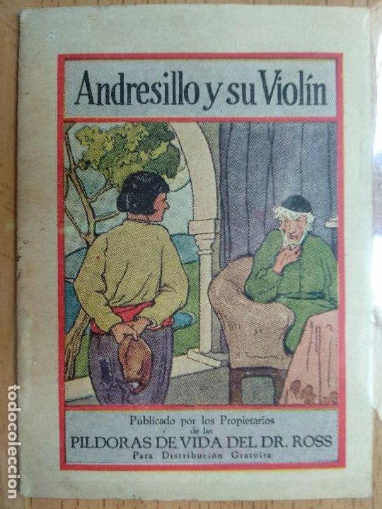 ANDRESILLO Y SU VIOLÍN. PUBLICIDAD PÍLDORAS DE VIDA DEL DR. ROSS (Libros Antiguos, Raros y Curiosos - Literatura Infantil y Juvenil - Cuentos)