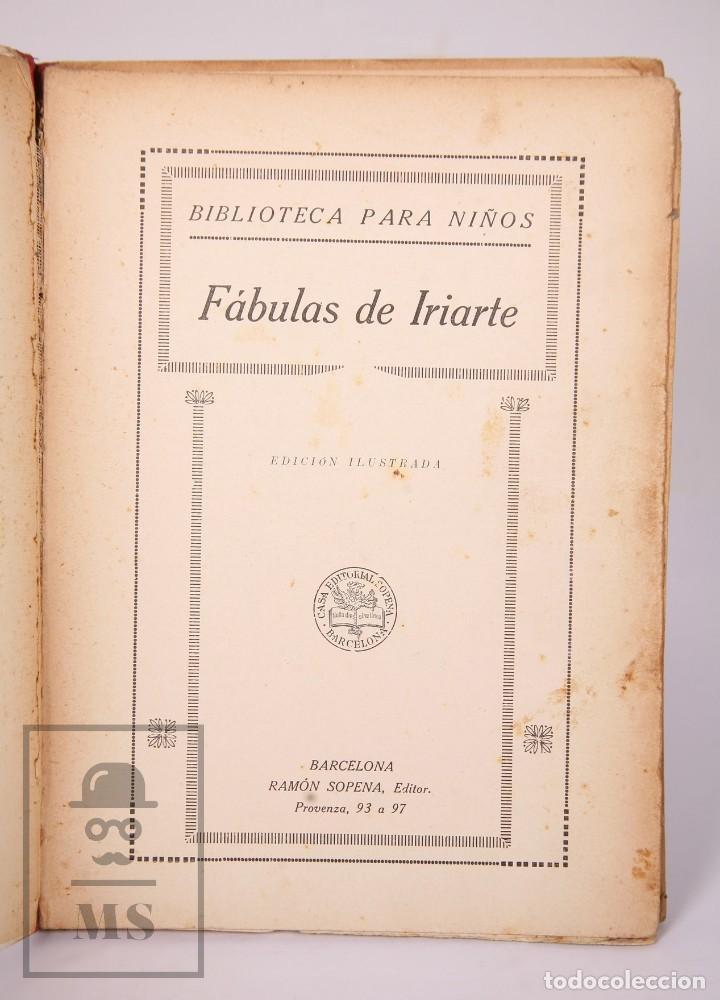 Libros antiguos: Antiguo Libro Ilustrado Biblioteca para Niños - Fábulas de Iriarte - Ramón Sopena - Foto 2 - 195263855