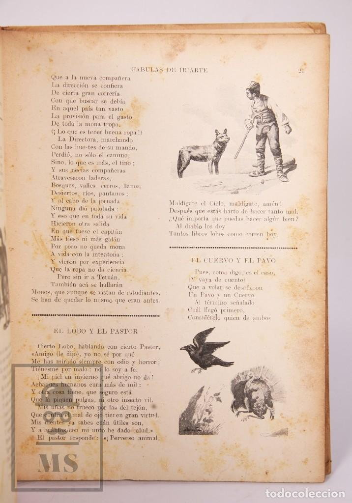 Libros antiguos: Antiguo Libro Ilustrado Biblioteca para Niños - Fábulas de Iriarte - Ramón Sopena - Foto 5 - 195263855