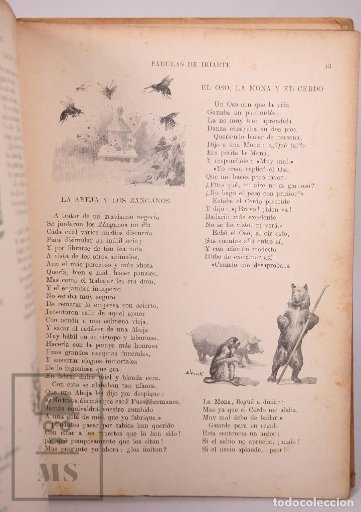 Libros antiguos: Antiguo Libro Ilustrado Biblioteca para Niños - Fábulas de Iriarte - Ramón Sopena - Foto 8 - 195263855