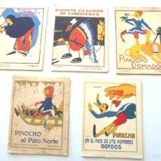 Libros antiguos: 5 CUENTOS CARTULINA CALLEJA EN COLORES 1919 PINOCHO EN EL PAIS DE LOS HOMBRES GORDOS. AL POLO NORTE. Lote 201759362