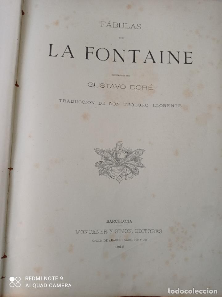 Libros antiguos: FABULAS DE LA FONTAINE, ILUSTRADO POR GUSTAVO DORÉ. MONTANER Y SIMON 1885. UNA JOYA. VER FOTOS - Foto 3 - 247236295