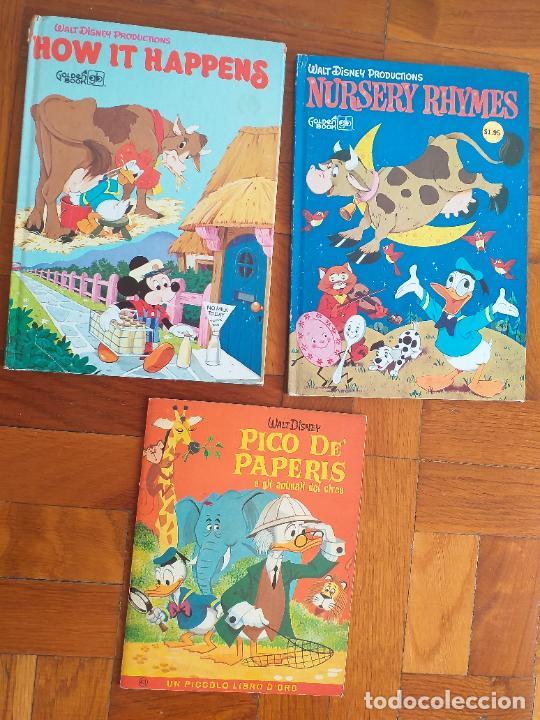 LOTE 3 CUENTOS DISNEY ANTIGUOS EN INGLES Y UNO EN ITALIANO - AÑOS 60 -70 (Libros Antiguos, Raros y Curiosos - Literatura Infantil y Juvenil - Cuentos)