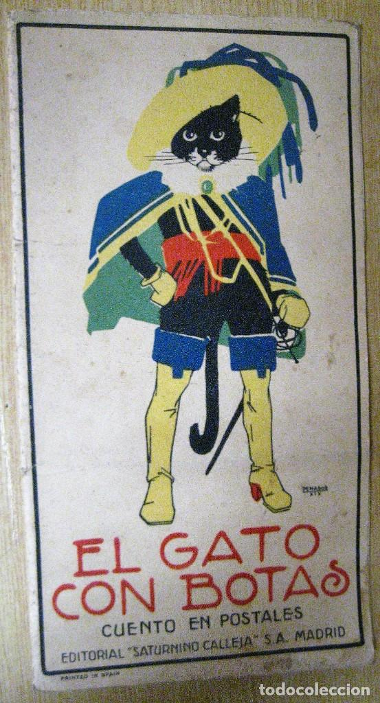 CUENTO EN POSTALES EL GATO CON BOTAS . ED CALLEJA . 9 POSTALES . AÑO 1930 (Libros Antiguos, Raros y Curiosos - Literatura Infantil y Juvenil - Cuentos)