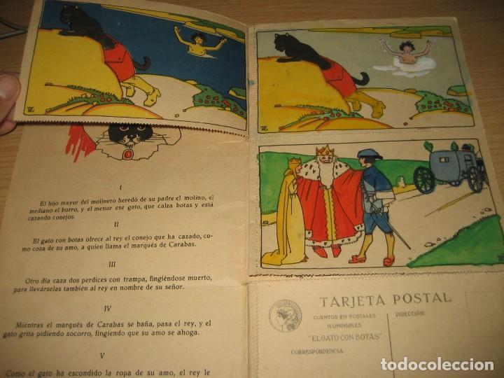 Libros antiguos: cuento en postales el gato con botas . ed calleja . 9 postales . año 1930 - Foto 4 - 264785794
