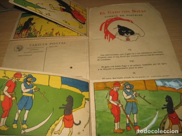 Libros antiguos: cuento en postales el gato con botas . ed calleja . 9 postales . año 1930 - Foto 6 - 264785794