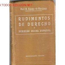 Libros antiguos: 1927.DERECHO USUAL ESPAÑOL.RUDIMENTOS DERECHO . Lote 24539206