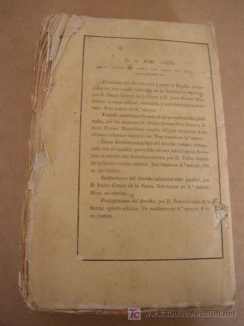 Libros antiguos: ELEMENTOS DE DERECHO CIVIL Y PENAL DE ESPAÑA,PRECEDIDOS DE UNA RESEÑA HISTÓRICA DE LA LEGISLACIÓN - - Foto 6 - 22712731