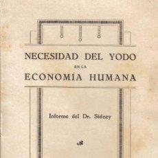 Libros antiguos: NECESIDAD DEL YODO EN LA ECONOMÍA HUMANA. INFORME DEL DR. SIDNEY. AGOSTO DE 1924.. Lote 12850898