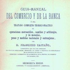 Libros antiguos: FRANCISCO CASTAÑO. GUÍA DEL COMERCIO Y DE LA BANCA. MADRID, 1885. Lote 10241263