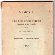 Libros antiguos: MEMORIA DE LA CAMARA OFICIAL DE COMERCIO 1902 - 1903. IMP. EL CORREO ESPAÑOL. BUENOS AIRES 1903. Lote 14470828