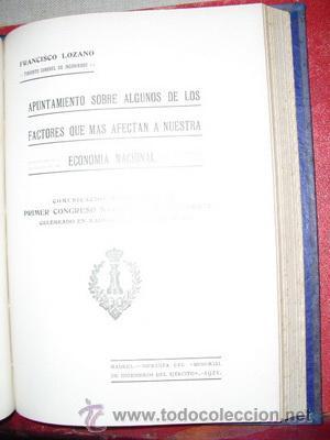 1921 APUNTAMIENTO SOBRE ALGUNO DE LOS FACTORES QUE MAS AFECTAN A LA ECONOMIA NACIONAL (Libros Antiguos, Raros y Curiosos - Ciencias, Manuales y Oficios - Derecho, Economía y Comercio)