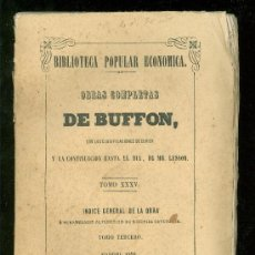 Libros antiguos: OBRAS COMPLETAS DE BUFFON. TOMO XXXV. TOMO TERCERO. 1850.. Lote 18401013
