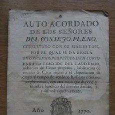 Libros antiguos: AUTO ACORDADO DE LOS SRES. DEL CONSEJO PLENO, CONSULTADO CON SU MAGESTAD, POR LA CUAL SE.... Lote 18568186