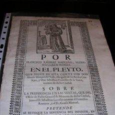 Libros antiguos: PLEYTO POR FRANCISCO RAMIREZ MADUEÑO,VEZINO DE LA CIUDAD DE BUXALANCE,CORDOBA,. Lote 23414698