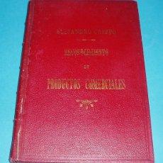 Libros antiguos: RECONOCIMIENTO DE PRODUCTOS COMERCIALES POR D. ALEJANDRO CRESPO Y HERRERO.. Lote 27569231