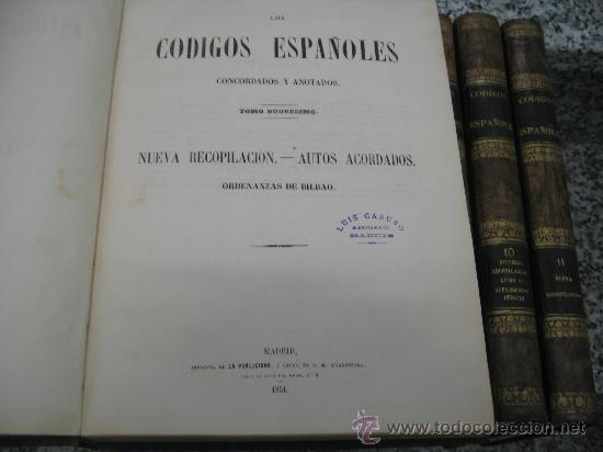 Libros antiguos: LOS CODIGOS ESPAÑOLES - CONCORDADOS Y ANOTADOS 1847 - 1851 - 12 TOMOS - LEYES ESPAÑOLAS - Foto 2 - 26620746
