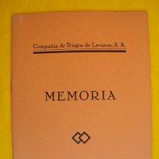 Livros antigos: COMPAÑÍA DE RIEGOS DE LEVANTE SA. ALICANTE. MEMORIA 1935. Lote 31374520