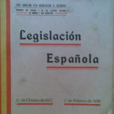 Libros antiguos: LIBRO LEGISLACION ESPAÑOLA AÑO 1938 .296 PAGINAS.GUERRA CIVIL,INTERESANTE. Lote 20671208