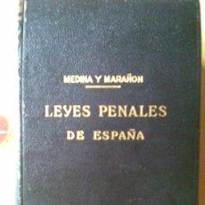 Libros antiguos: ANTIGUO LIBRO LEYES PENALES DE ESPAÑA AÑO 1936.800 PAGINAS. DE MEDINA Y MARAÑON .DERECHO,JUSTICIA. Lote 22470982