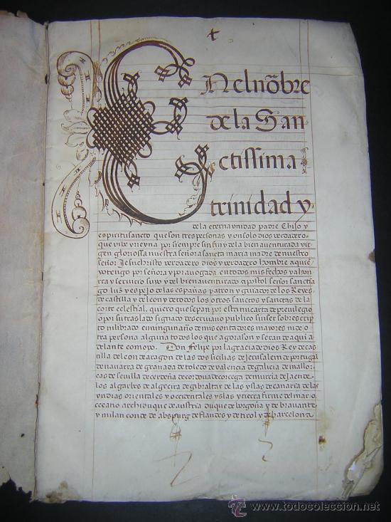1594 - MANUSCRITO EN PERGAMINO - FELIPE II, PRIVILEGIOS REALES, SEVILLA, COMERCIO INDIAS (Libros Antiguos, Raros y Curiosos - Ciencias, Manuales y Oficios - Derecho, Economía y Comercio)
