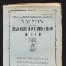 Libros antiguos: GIJON. BOLETIN CAMARA OFICIAL PROPIEDAD URBANA. ASTURIAS. 1932. Lote 26867886