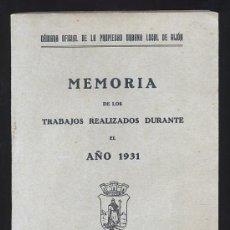Libros antiguos: GIJON. CAMARA DE LA PROPIEDAD URBANA. MEMORIA DE LOS TRABAJOS REALIZADOS. 1931. ASTURIAS. Lote 26867912