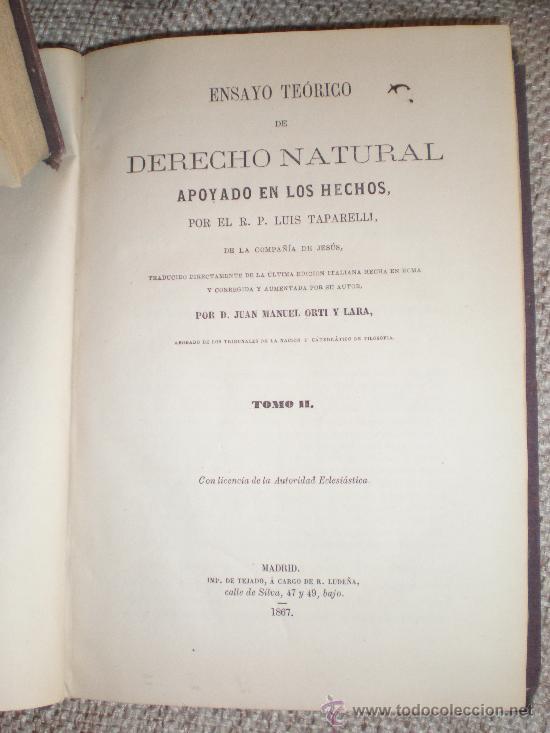 Libros antiguos: ENSAYO TEÓRICO DE DERECHO NATURAL. TOMOS: I, II, IV. 1866, 1867, 1868. - Foto 3 - 28577853