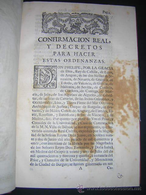 Libros antiguos: 1769 - ORDENANZAS DE LA ILUSTRE UNIVERSIDAD Y CASA DE CONTRATACION DE LA VILLA DE BILBAO - Foto 4 - 29599713