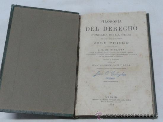 Libros antiguos: LIBRO - FILOSOFIA DEL DERECHO -. AÑO 1879. - Foto 2 - 38009701
