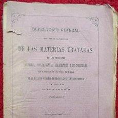 Libros antiguos: REPERTORIO GENERAL... DE LAS MATERIAS TRATADAS... REVISTA GRAL DE LEGISLACIÓN Y JURISPRUDENCIA(1877). Lote 31056535