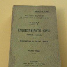 Libros antiguos: LEY DE ENJUCIAMIENTO CIVIL. BIBLIOTECA ECONÓMICA DE LEGISLACION Y JURISPRUDENCIA. VICENTE AMAT.. Lote 31261296