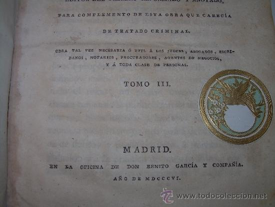 Libros antiguos: LIBRO DE PERGAMINO.......PRACTICA CRIMINAL DE ESPAÑA.T III...AÑO.. 1806 - Foto 4 - 46144328