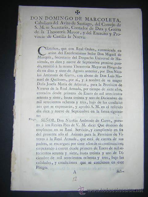 1776 - PLIEGO DE CONDICIONES PARA LA PROVISION DE VIVERES DE LA REAL ARMADA - CARLOS III, NAVAL (Libros Antiguos, Raros y Curiosos - Ciencias, Manuales y Oficios - Derecho, Economía y Comercio)