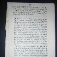 Libros antiguos: 1776 - PLIEGO DE CONDICIONES PARA LA PROVISION DE VIVERES DE LA REAL ARMADA - CARLOS III, NAVAL. Lote 31769493