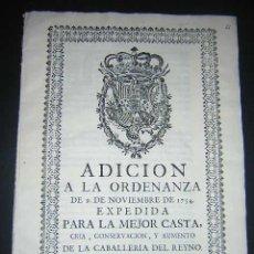 Libros antiguos: 1762 - ADICION A LA ORDENANZA PARA LA MEJOR CASTA DE LA CABALLERIA DEL REINO - CARLOS III, CABALLOS. Lote 31773397