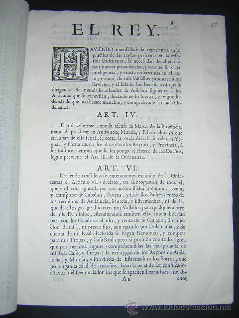 Libros antiguos: 1762 - ADICION A LA ORDENANZA PARA LA MEJOR CASTA DE LA CABALLERIA DEL REINO - CARLOS III, CABALLOS - Foto 2 - 31773397