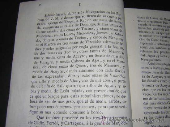 Libros antiguos: 1776 - PLIEGO DE CONDICIONES PARA LA PROVISION DE VIVERES DE LA REAL ARMADA - CARLOS III, NAVAL - Foto 2 - 31769493