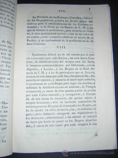 Libros antiguos: 1776 - PLIEGO DE CONDICIONES PARA LA PROVISION DE VIVERES DE LA REAL ARMADA - CARLOS III, NAVAL - Foto 3 - 31769493