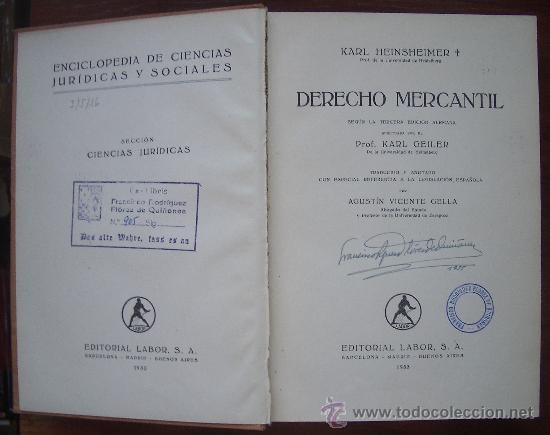 Libros antiguos: 1933. Karl Heinsheimer. Derecho mercantil. - Foto 2 - 32144132