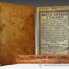 Libros antiguos: 1731 COTEJO Y VALANCE DE PESOS MEDIDAS Y MONEDAS DE VARIAS NACIONES Y DE ESPAÑA. Lote 32553602