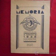 Libros antiguos: LIBRO MEMORIA DEL MONTEPIO DE DEPENDIENTES Y EMPLEADOS MERCANTILES 1935 VALENCIA L-1462. Lote 32772614