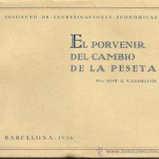 Libros antiguos: JOSÉ A. VANDELLÓS: EL PORVENIR DEL CAMBIO DE LA PESETA + CARTA DEL AUTOR. (1936). Lote 32799098
