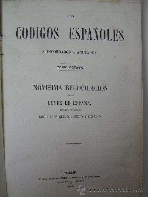Libros antiguos: codigos españoles concordados y anotados tomo octavo 8,1850, ,ref - Foto 4 - 33007166