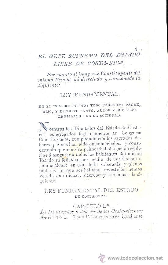 Libros antiguos: COSTA RICA. Ley Fundamental del Estado Libre de---. San Salvador, 1826. 1ª ed. Muy raro. - Foto 2 - 35225011