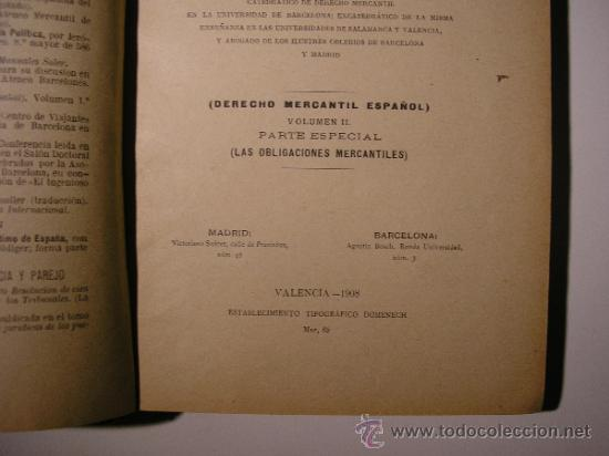 Libros antiguos: VOLUMEN II,MANUAL DE DERECHO MERCANTIL,LORENZO BENITO,AÑO 1908 - Foto 6 - 36137095
